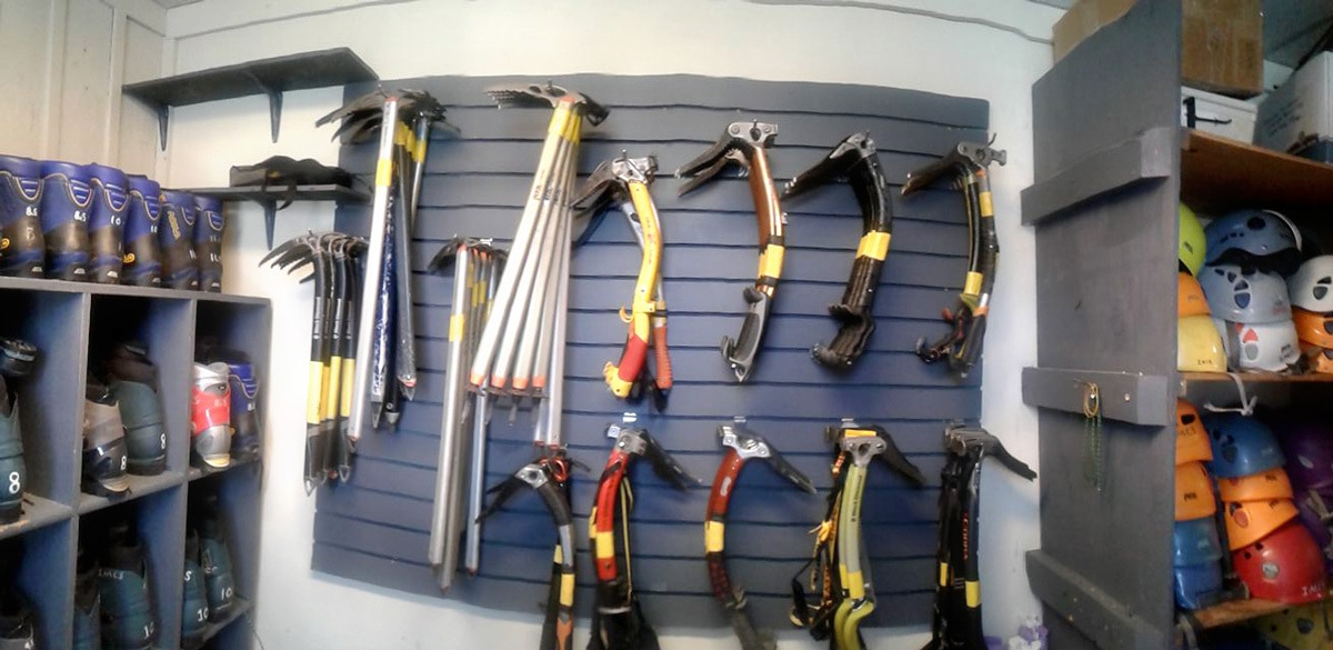 Ice climbing rental gear at IMCS in North Conway, New Hampshire.