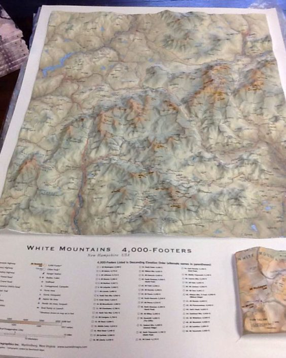 White Mountains 4,000 Footer Relief Map