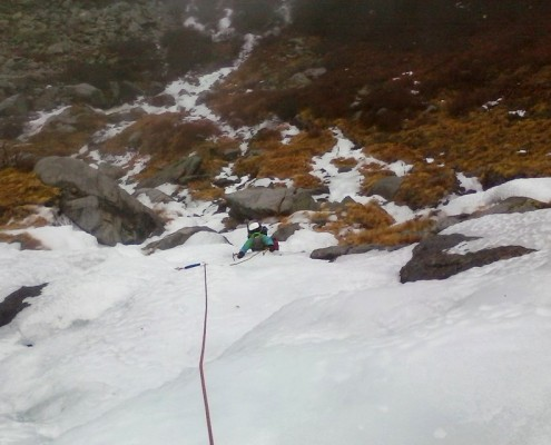 Early season ice climbing in Tuckerman Ravine on Mount Washington, New Hampshire.