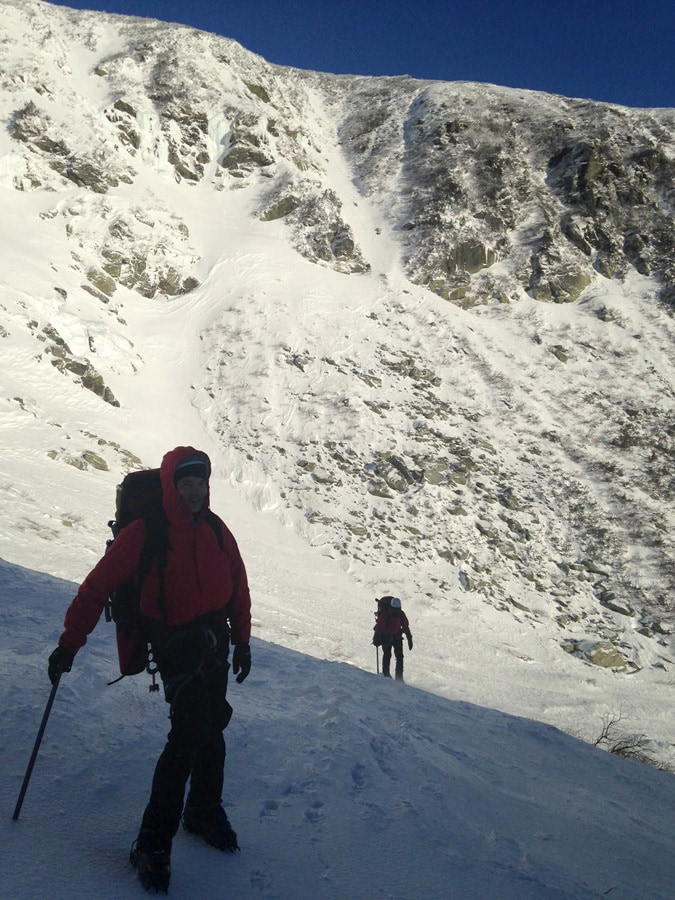 Heading into Tuckerman Ravine and about to rope up for Left Gully.