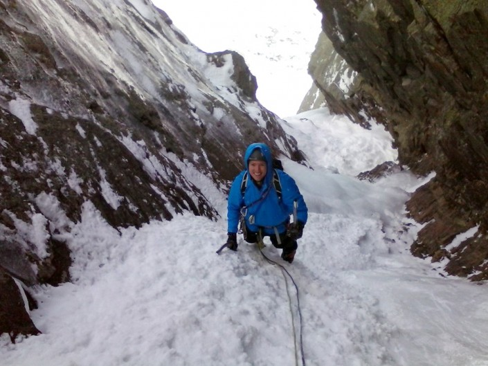 Firm snow for climbing and giant smiles near the top of Pinnacle.