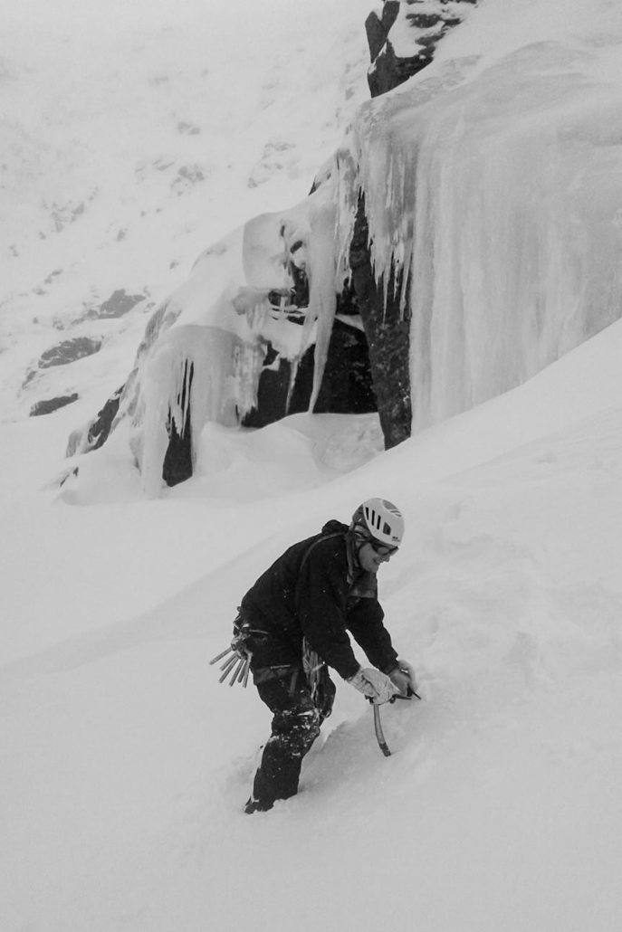 Tuckerman Ravine for early season ice climbing on Mount Washington, New Hampshire.