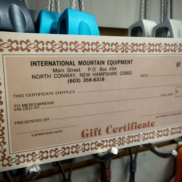 Gift Certificate for IME in North Conway, New Hampshire.